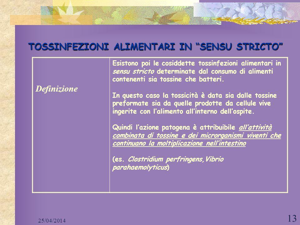 25/04/2014 13 TOSSINFEZIONI ALIMENTARI IN SENSU STRICTO Definizione Esistono poi le cosiddette tossinfezioni alimentari in sensu stricto determinate d