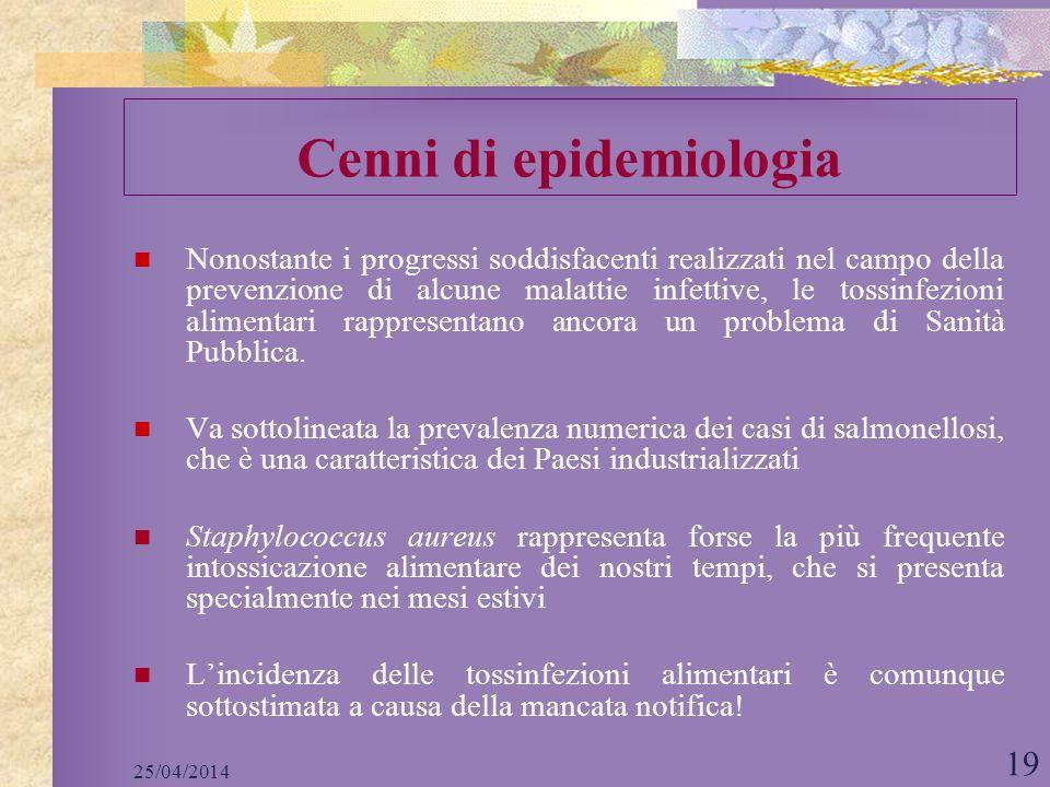 25/04/2014 19 Nonostante i progressi soddisfacenti realizzati nel campo della prevenzione di alcune malattie infettive, le tossinfezioni alimentari ra