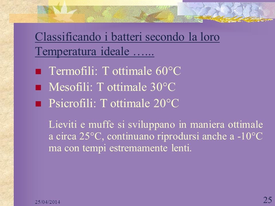 25/04/2014 25 Classificando i batteri secondo la loro Temperatura ideale …... Termofili: T ottimale 60°C Mesofili: T ottimale 30°C Psicrofili: T ottim