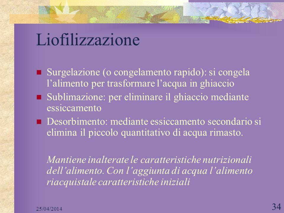 25/04/2014 34 Liofilizzazione Surgelazione (o congelamento rapido): si congela lalimento per trasformare lacqua in ghiaccio Sublimazione: per eliminar