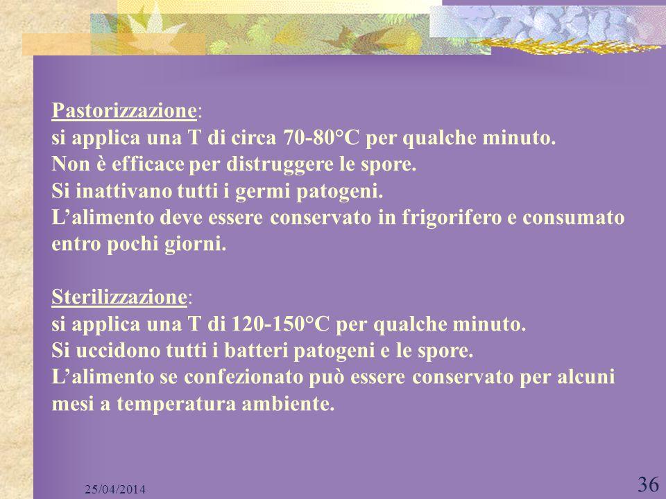25/04/2014 36 Pastorizzazione: si applica una T di circa 70-80°C per qualche minuto. Non è efficace per distruggere le spore. Si inattivano tutti i ge