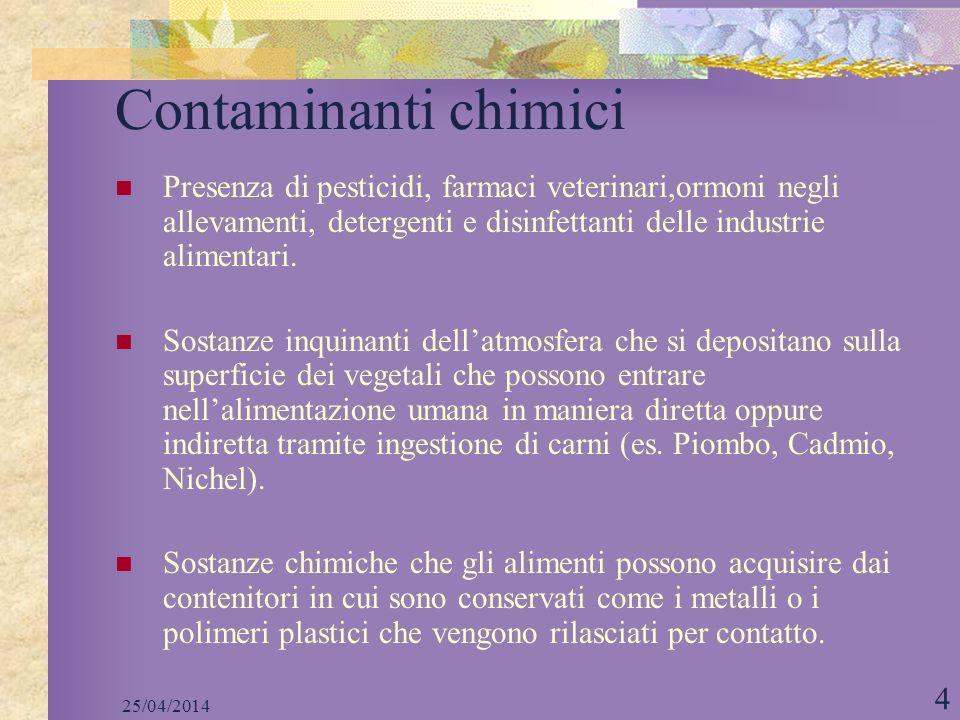 25/04/2014 4 Contaminanti chimici Presenza di pesticidi, farmaci veterinari,ormoni negli allevamenti, detergenti e disinfettanti delle industrie alime