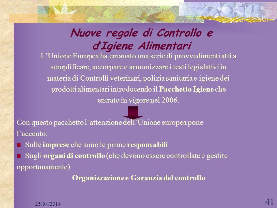 25/04/2014 41 Nuove regole di Controllo e d Igiene Alimentari LUnione Europea ha emanato una serie di provvedimenti atti a semplificare, accorpare e a