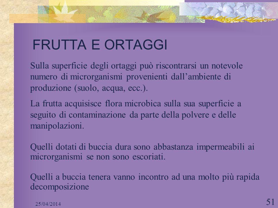 25/04/2014 51 FRUTTA E ORTAGGI Sulla superficie degli ortaggi può riscontrarsi un notevole numero di microrganismi provenienti dallambiente di produzi