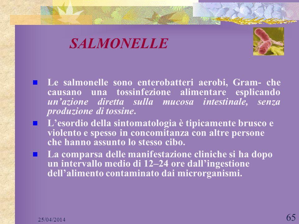 25/04/2014 65 Le salmonelle sono enterobatteri aerobi, Gram- che causano una tossinfezione alimentare esplicando unazione diretta sulla mucosa intesti
