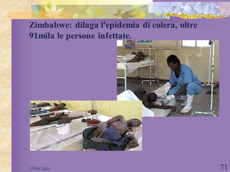 25/04/2014 71 Zimbabwe: dilaga l'epidemia di colera, oltre 91mila le persone infettate.