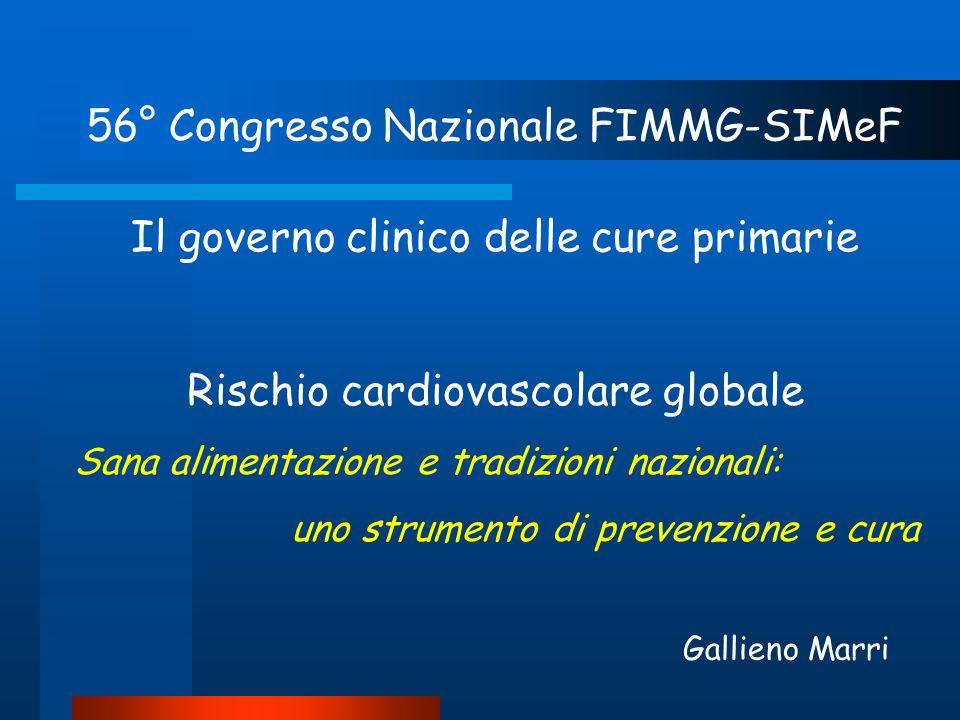Rischio cardiovascolare globale Sana alimentazione e tradizioni nazionali: uno strumento di prevenzione e cura 56° Congresso Nazionale FIMMG-SIMeF Il