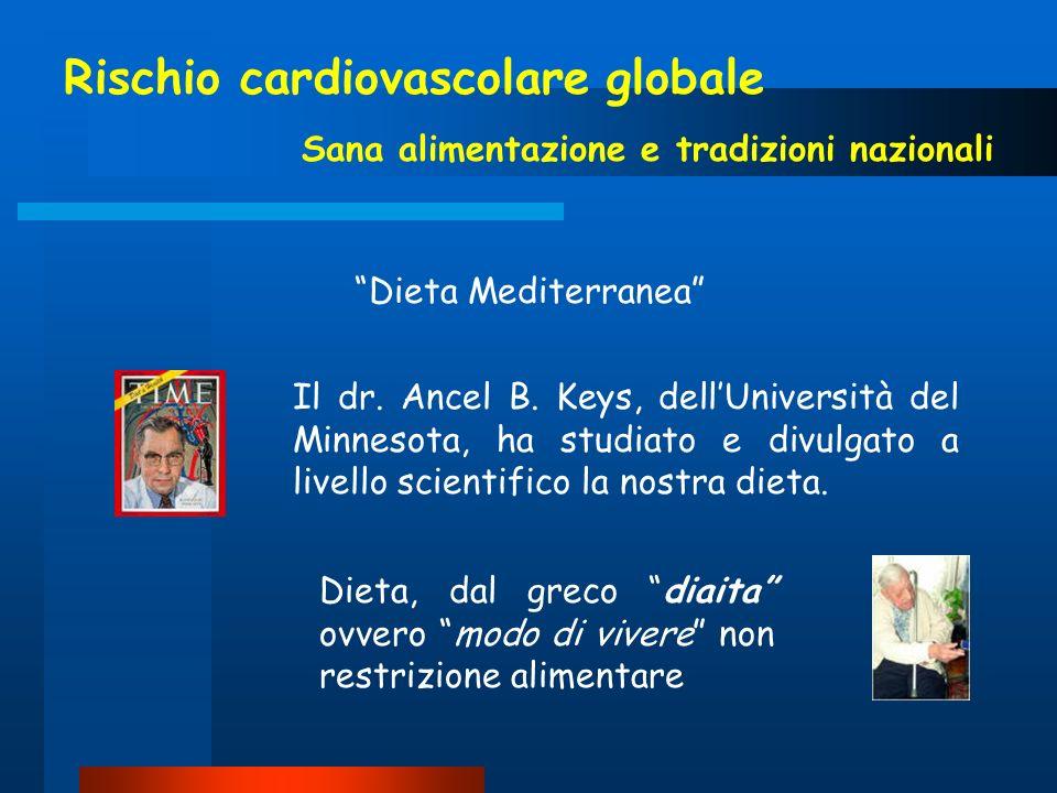 Rischio cardiovascolare globale Sana alimentazione e tradizioni nazionali Il dr. Ancel B. Keys, dellUniversità del Minnesota, ha studiato e divulgato