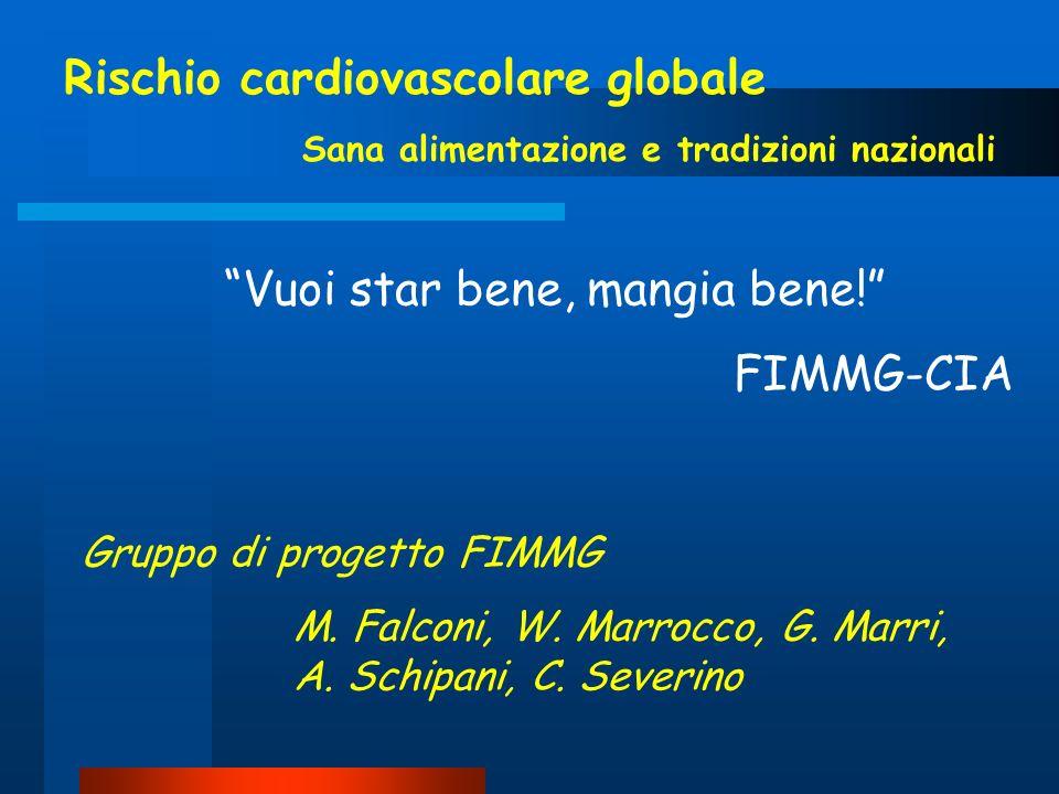 Vuoi star bene, mangia bene! FIMMG-CIA Gruppo di progetto FIMMG M. Falconi, W. Marrocco, G. Marri, A. Schipani, C. Severino Rischio cardiovascolare gl