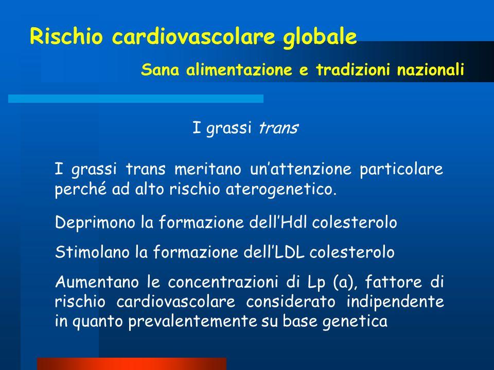 Rischio cardiovascolare globale Sana alimentazione e tradizioni nazionali I grassi trans I grassi trans meritano unattenzione particolare perché ad al