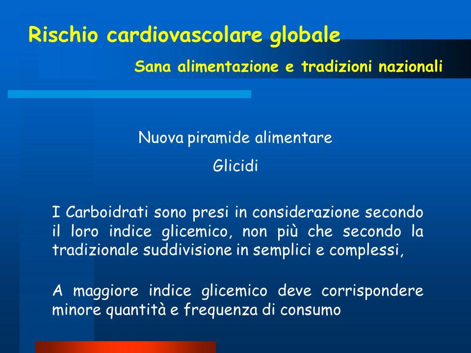 Rischio cardiovascolare globale Sana alimentazione e tradizioni nazionali I Carboidrati sono presi in considerazione secondo il loro indice glicemico,