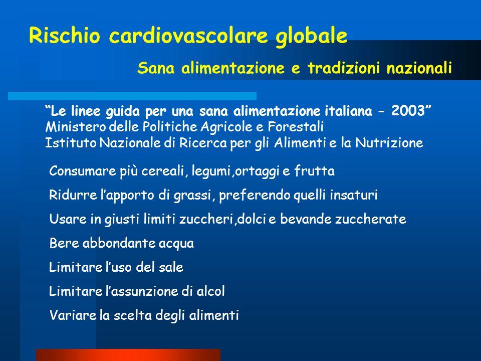 Rischio cardiovascolare globale Sana alimentazione e tradizioni nazionali Le linee guida per una sana alimentazione italiana - 2003 Ministero delle Po