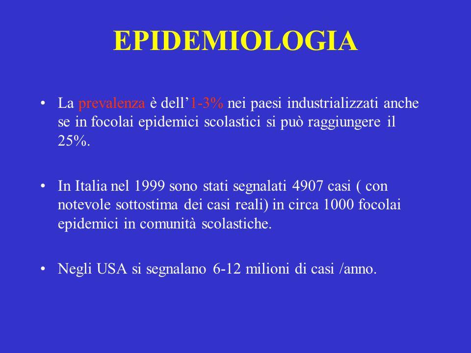 EPIDEMIOLOGIA La prevalenza è dell1-3% nei paesi industrializzati anche se in focolai epidemici scolastici si può raggiungere il 25%. In Italia nel 19