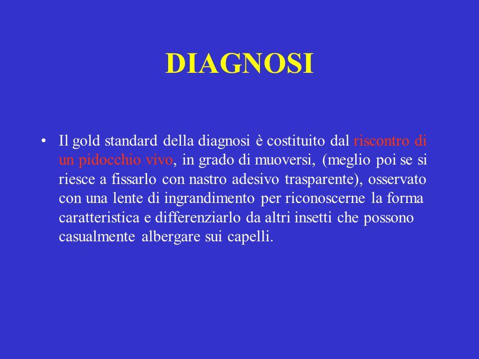 DIAGNOSI Il gold standard della diagnosi è costituito dal riscontro di un pidocchio vivo, in grado di muoversi, (meglio poi se si riesce a fissarlo co