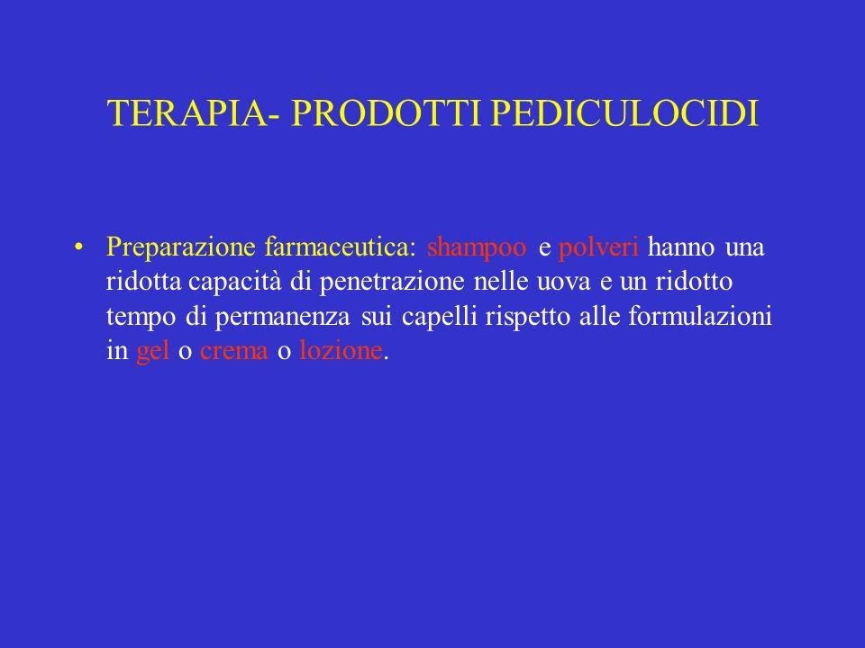 TERAPIA- PRODOTTI PEDICULOCIDI Preparazione farmaceutica: shampoo e polveri hanno una ridotta capacità di penetrazione nelle uova e un ridotto tempo d