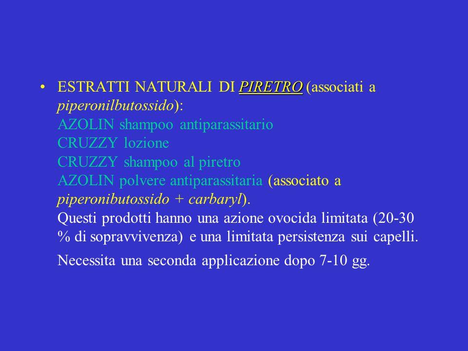 PIRETROESTRATTI NATURALI DI PIRETRO (associati a piperonilbutossido): AZOLIN shampoo antiparassitario CRUZZY lozione CRUZZY shampoo al piretro AZOLIN