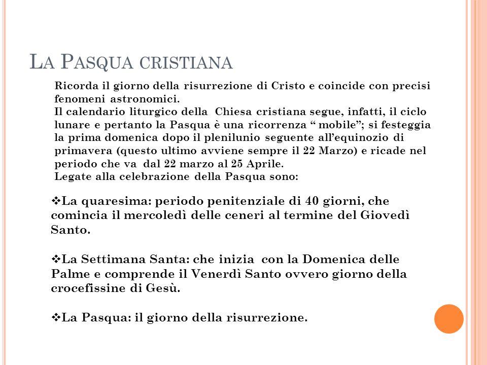 L A P ASQUA CRISTIANA Ricorda il giorno della risurrezione di Cristo e coincide con precisi fenomeni astronomici. Il calendario liturgico della Chiesa