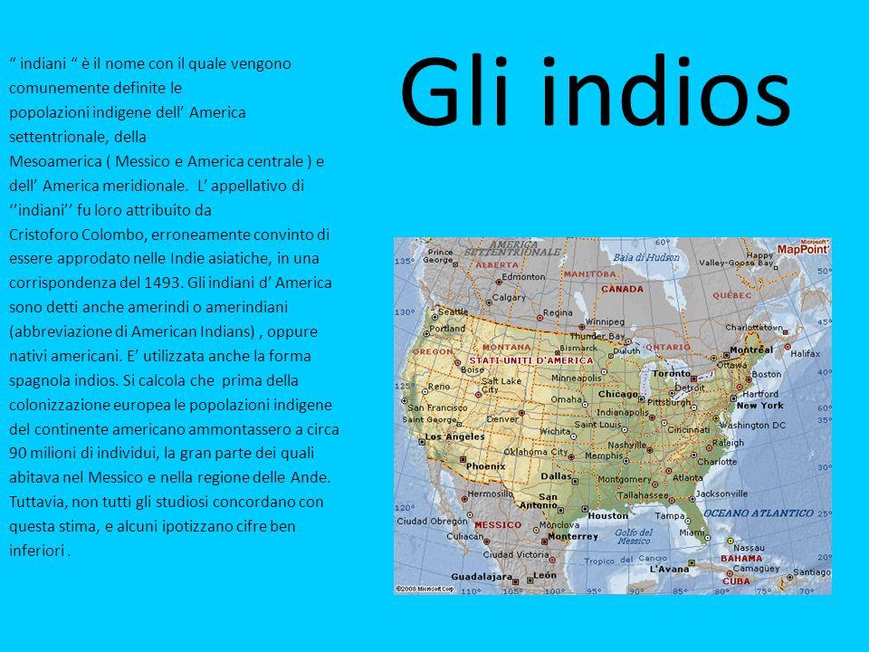 Gli indios indiani è il nome con il quale vengono comunemente definite le popolazioni indigene dell America settentrionale, della Mesoamerica ( Messico e America centrale ) e dell America meridionale.