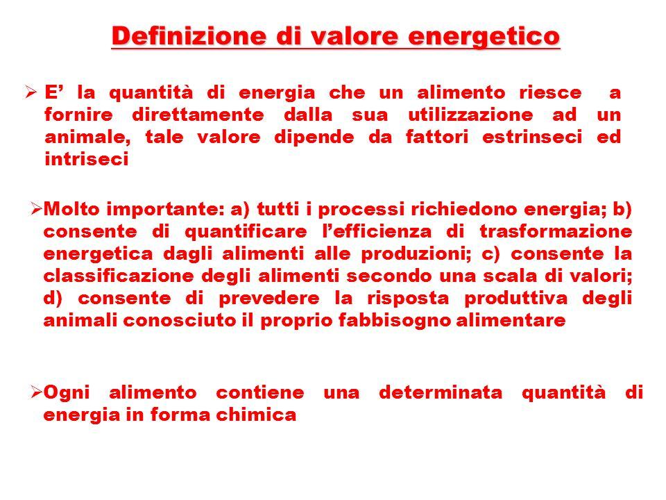 Definizione di valore energetico E la quantità di energia che un alimento riesce a fornire direttamente dalla sua utilizzazione ad un animale, tale va