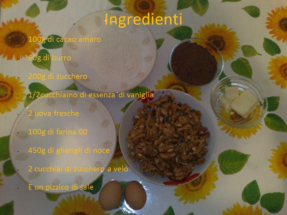 Ingredienti 100g di cacao amaro 60g di burro 200g di zucchero 1/2cucchiaino di essenza di vaniglia 2 uova fresche 100g di farina 00 450g di gherigli di noce 2 cucchiai di zucchero a velo E un pizzico di sale