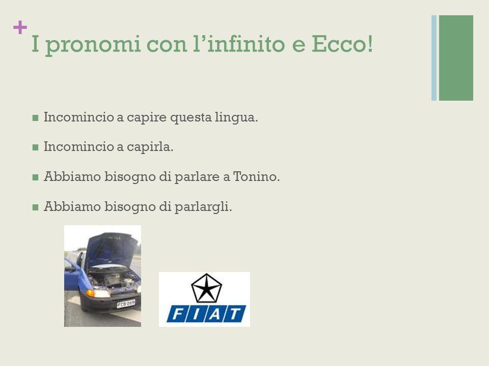 + I pronomi con linfinito e Ecco. Incomincio a capire questa lingua.