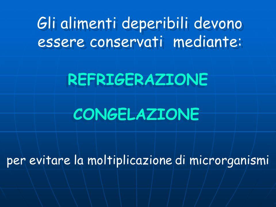 Gli alimenti deperibili devono essere conservati mediante: REFRIGERAZIONE CONGELAZIONE per evitare la moltiplicazione di microrganismi