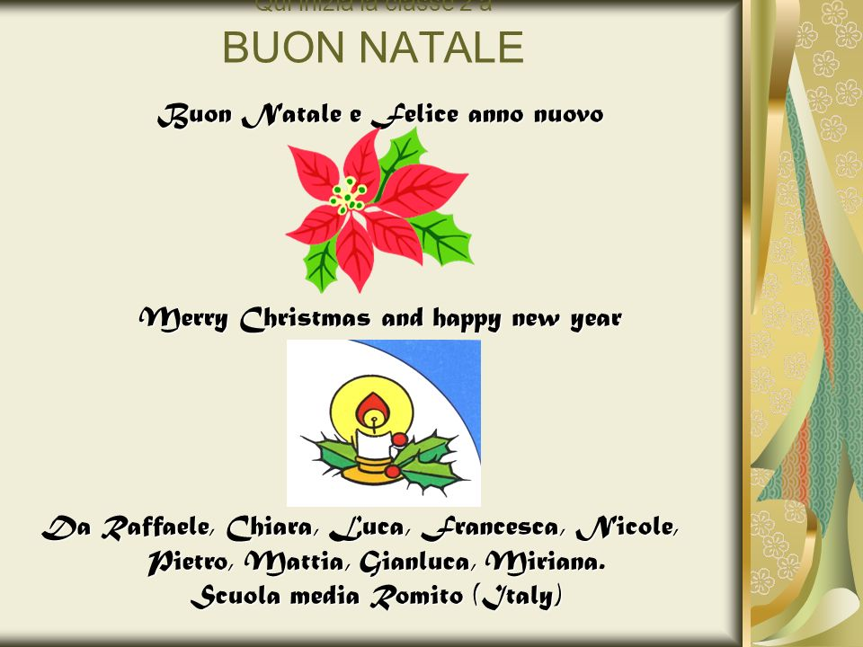 Qui inizia la classe 2 a BUON NATALE Buon Natale e Felice anno nuovo Merry Christmas and happy new year Da Raffaele, Chiara, Luca, Francesca, Nicole,