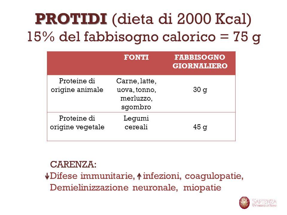 PROTIDI PROTIDI (dieta di 2000 Kcal) 15% del fabbisogno calorico = 75 g FONTIFABBISOGNO GIORNALIERO Proteine di origine animale Carne, latte, uova, to