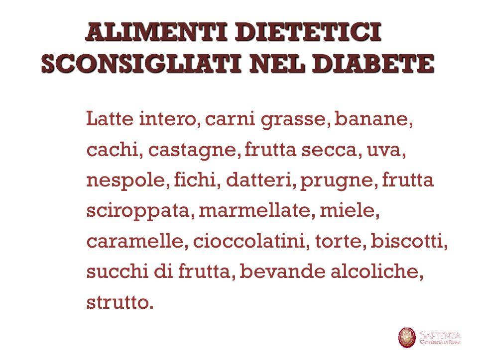 Latte intero, carni grasse, banane, cachi, castagne, frutta secca, uva, nespole, fichi, datteri, prugne, frutta sciroppata, marmellate, miele, caramel