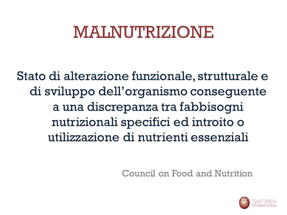 MALNUTRIZIONE Stato di alterazione funzionale, strutturale e di sviluppo dellorganismo conseguente a una discrepanza tra fabbisogni nutrizionali speci