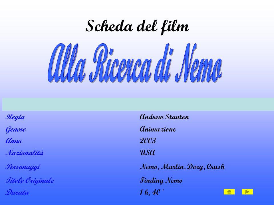 RegiaAndrew Stanton GenereAnimazione Anno2003 NazionalitàUSA PersonaggiNemo, Marlin, Dory, Crush Titolo OriginaleFinding Nemo Durata1 h, 40 Scheda del film