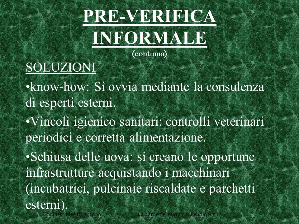 Business idea III gruppo La carne del nuovo millennio S.r.L PRE-VERIFICA INFORMALE (continua) SOLUZIONI know-how: Si ovvia mediante la consulenza di esperti esterni.