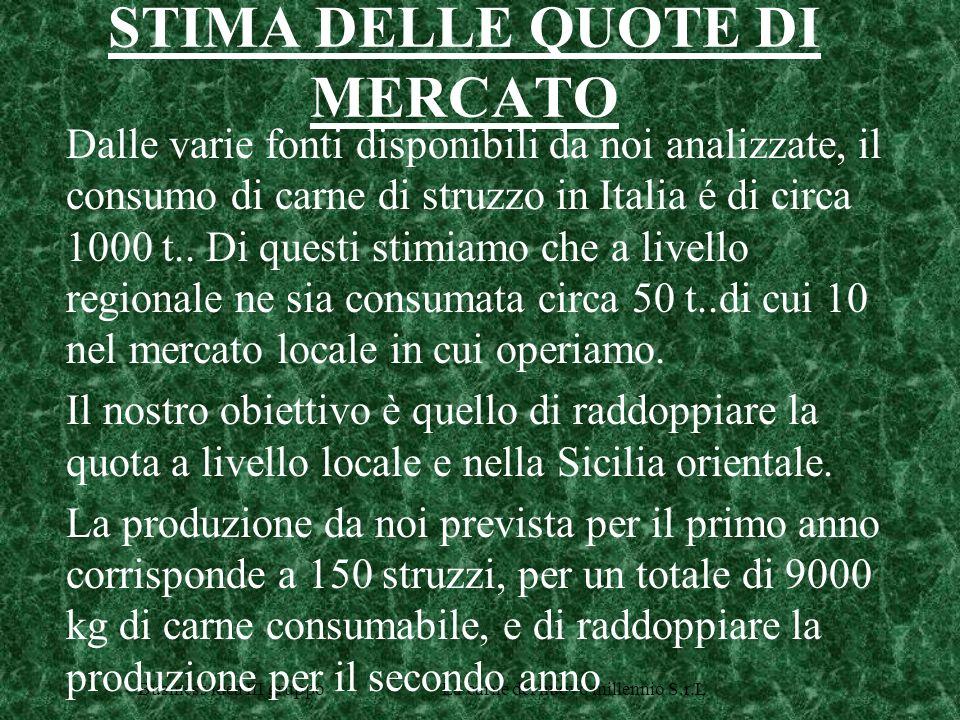 Business idea III gruppo La carne del nuovo millennio S.r.L STIMA DELLE QUOTE DI MERCATO Dalle varie fonti disponibili da noi analizzate, il consumo di carne di struzzo in Italia é di circa 1000 t..