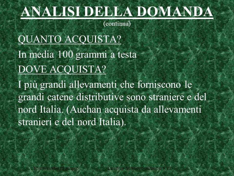 Business idea III gruppo La carne del nuovo millennio S.r.L ANALISI DELLA DOMANDA (continua) QUANTO ACQUISTA.