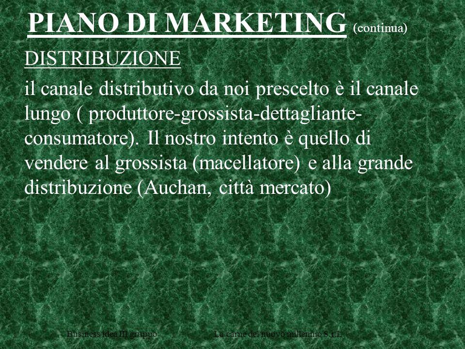 Business idea III gruppo La carne del nuovo millennio S.r.L DISTRIBUZIONE il canale distributivo da noi prescelto è il canale lungo ( produttore-grossista-dettagliante- consumatore).