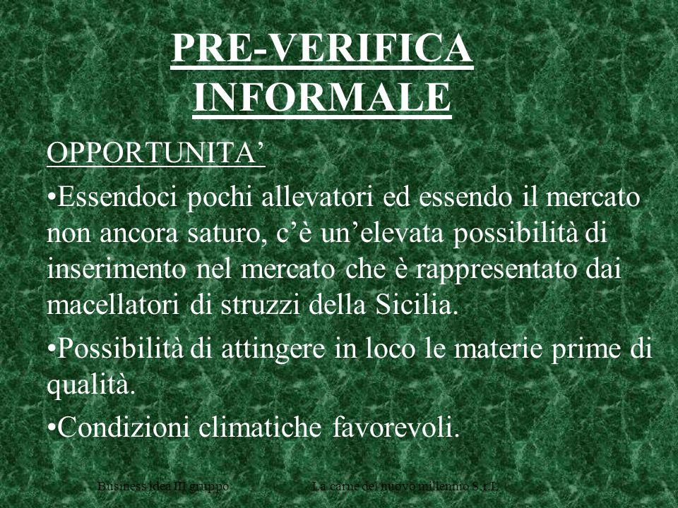 Business idea III gruppo La carne del nuovo millennio S.r.L PRE-VERIFICA INFORMALE (continua) MINACCE Mediocre know-how produttivo.