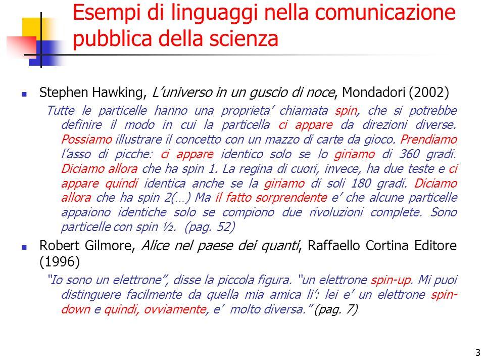 3 Esempi di linguaggi nella comunicazione pubblica della scienza Stephen Hawking, Luniverso in un guscio di noce, Mondadori (2002) Tutte le particelle hanno una proprieta chiamata spin, che si potrebbe definire il modo in cui la particella ci appare da direzioni diverse.
