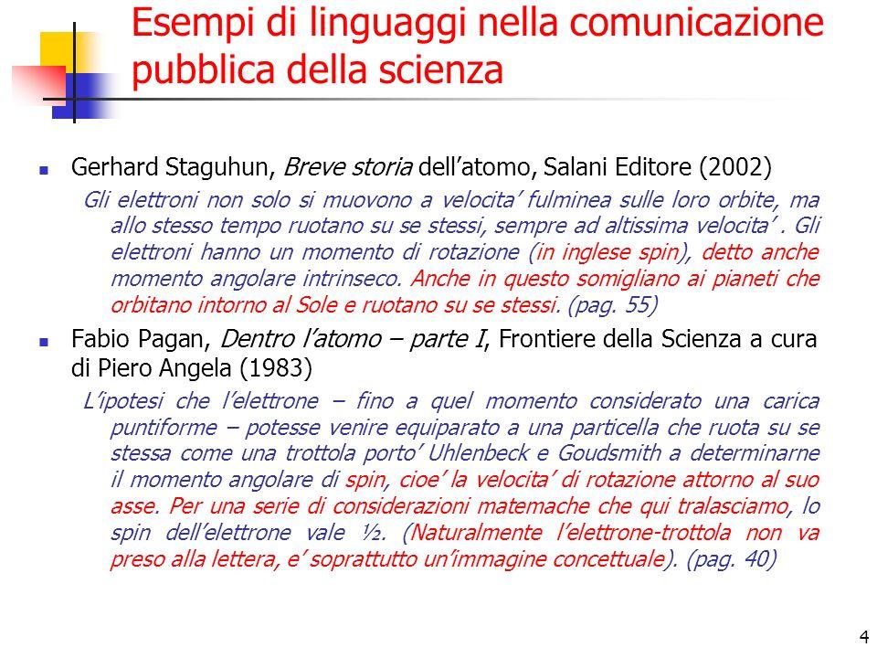 4 Esempi di linguaggi nella comunicazione pubblica della scienza Gerhard Staguhun, Breve storia dellatomo, Salani Editore (2002) Gli elettroni non solo si muovono a velocita fulminea sulle loro orbite, ma allo stesso tempo ruotano su se stessi, sempre ad altissima velocita.