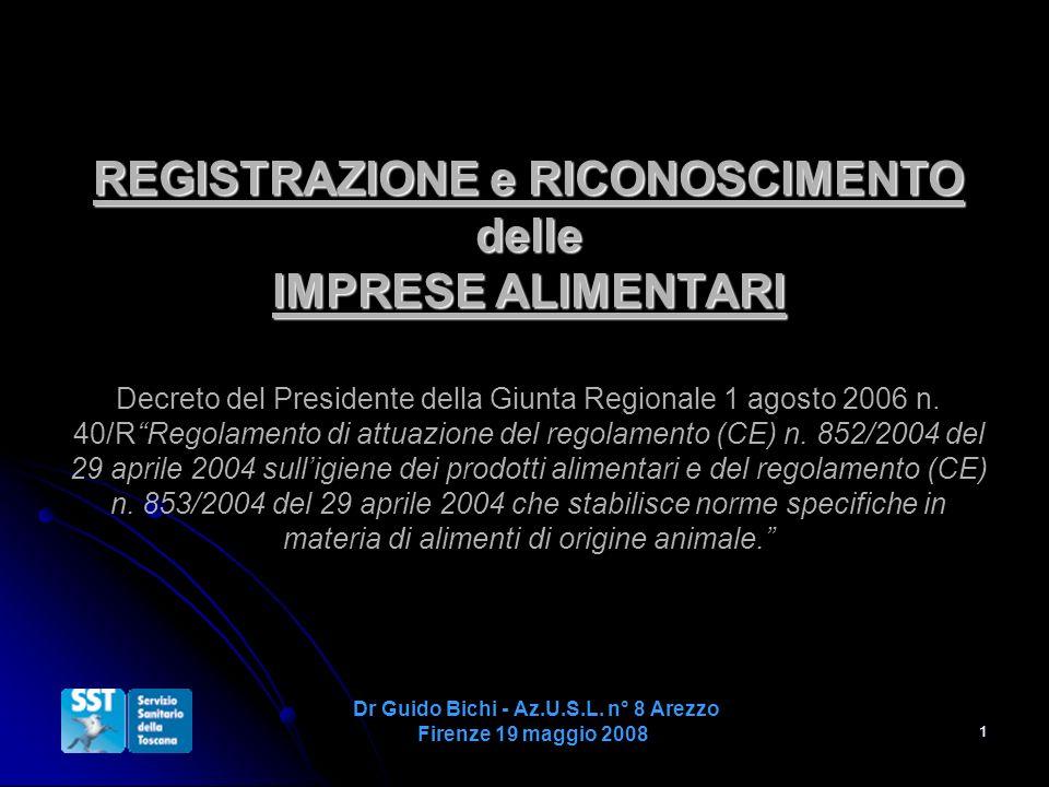 1 REGISTRAZIONE e RICONOSCIMENTO delle IMPRESE ALIMENTARI REGISTRAZIONE e RICONOSCIMENTO delle IMPRESE ALIMENTARI Decreto del Presidente della Giunta