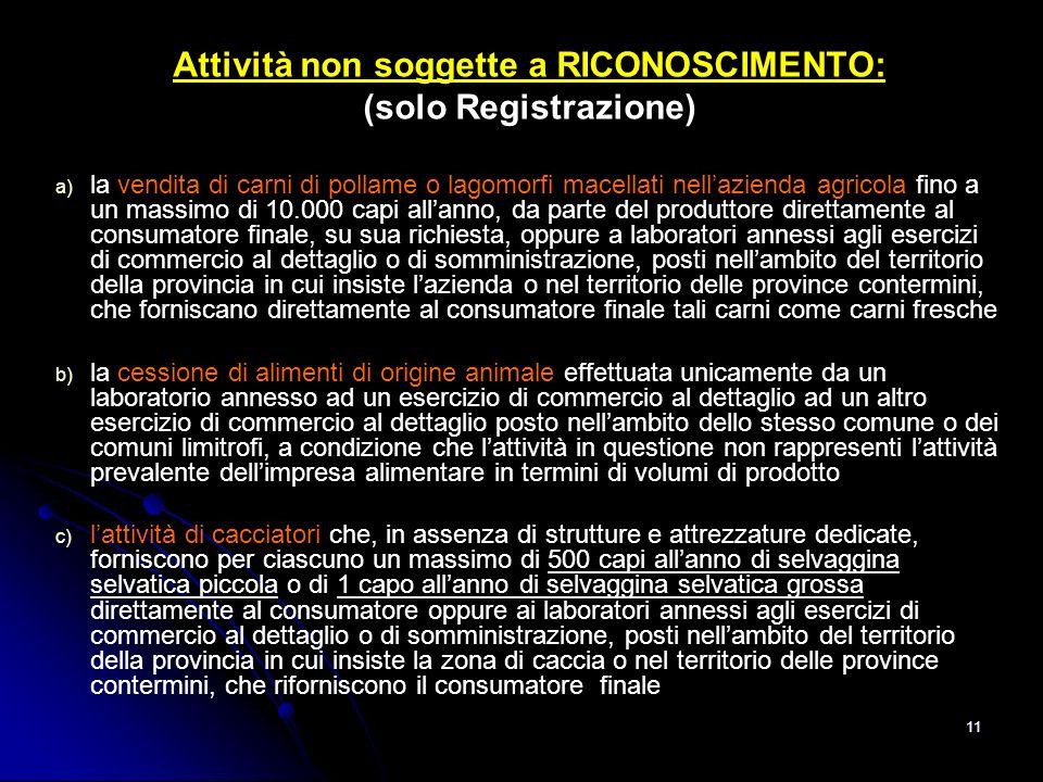 11 Attività non soggette a RICONOSCIMENTO: (solo Registrazione) a) a) la vendita di carni di pollame o lagomorfi macellati nellazienda agricola fino a