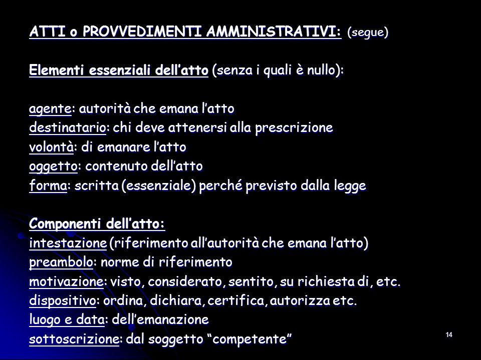 14 ATTI o PROVVEDIMENTI AMMINISTRATIVI: (segue) Elementi essenziali dellatto (senza i quali è nullo): agente: autorità che emana latto destinatario: c