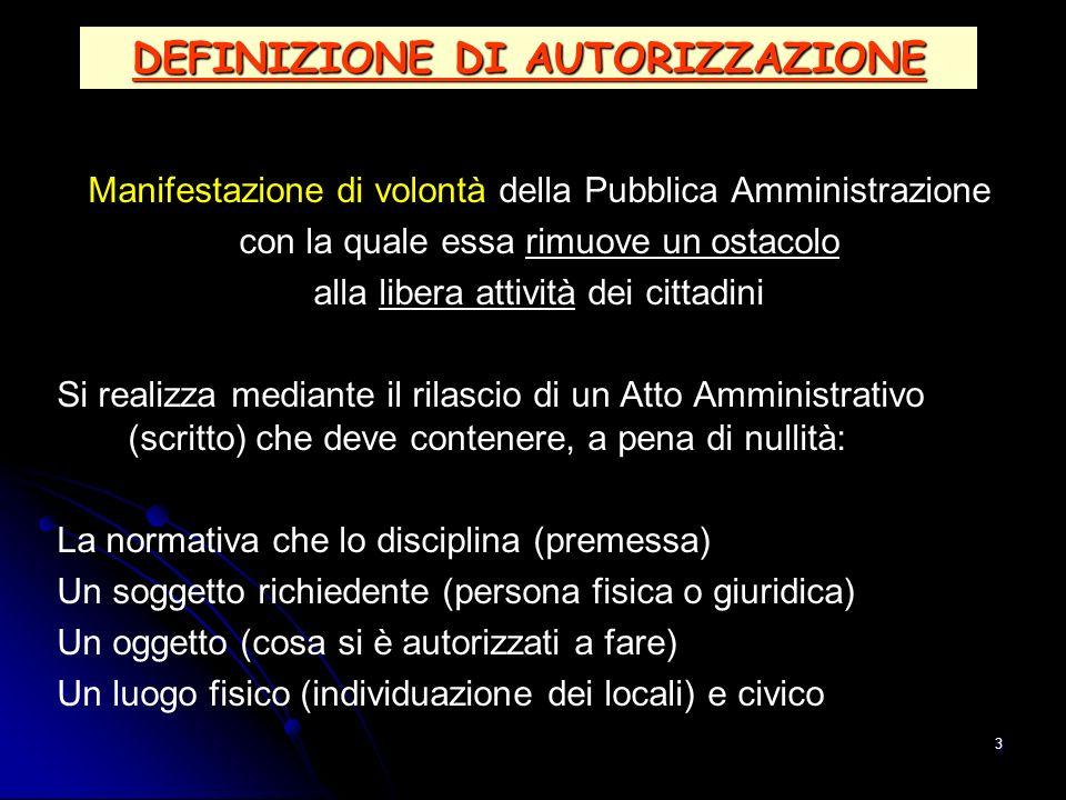 3 DEFINIZIONE DI AUTORIZZAZIONE Manifestazione di volontà della Pubblica Amministrazione con la quale essa rimuove un ostacolo alla libera attività de