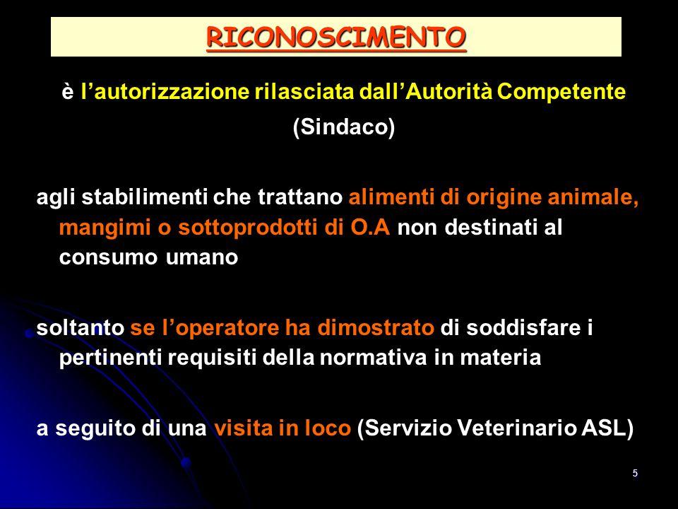 5 RICONOSCIMENTO è lautorizzazione rilasciata dallAutorità Competente (Sindaco) agli stabilimenti che trattano alimenti di origine animale, mangimi o