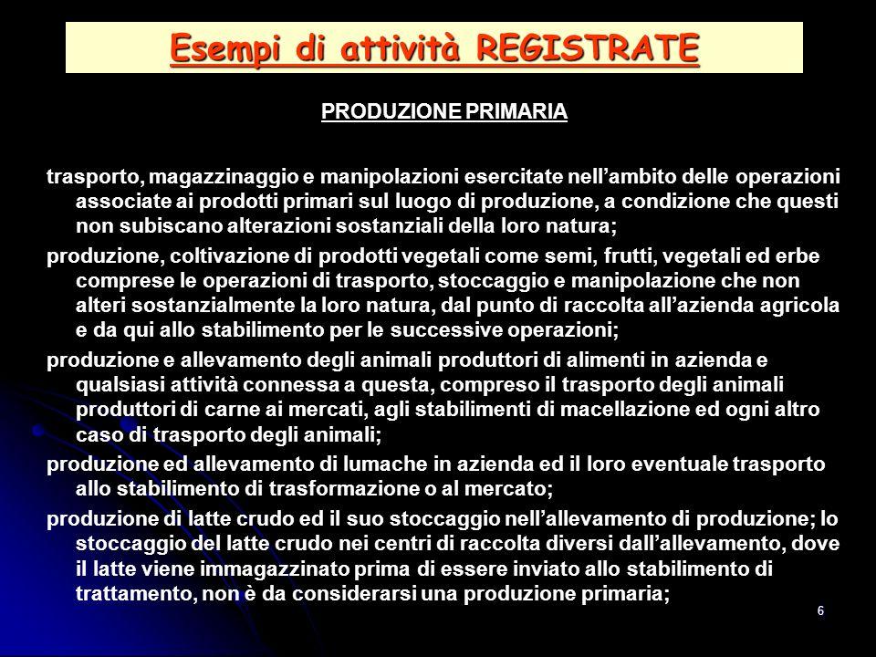6 Esempi di attività REGISTRATE PRODUZIONE PRIMARIA trasporto, magazzinaggio e manipolazioni esercitate nellambito delle operazioni associate ai prodo