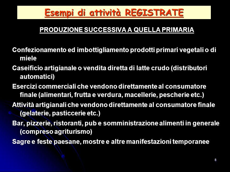 8 Esempi di attività REGISTRATE PRODUZIONE SUCCESSIVA A QUELLA PRIMARIA Confezionamento ed imbottigliamento prodotti primari vegetali o di miele Casei