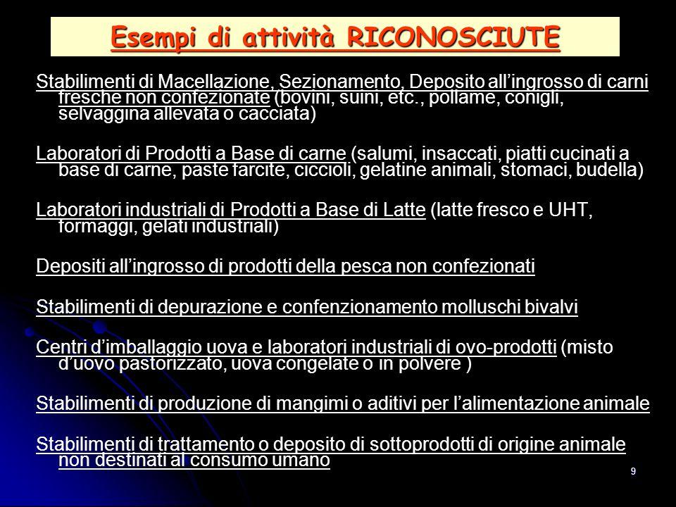 9 Esempi di attività RICONOSCIUTE Stabilimenti di Macellazione, Sezionamento, Deposito allingrosso di carni fresche non confezionate (bovini, suini, e