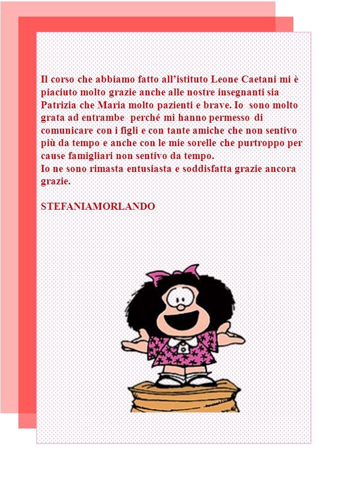 Il corso che abbiamo fatto allistituto Leone Caetani mi è piaciuto molto grazie anche alle nostre insegnanti sia Patrizia che Maria molto pazienti e brave.