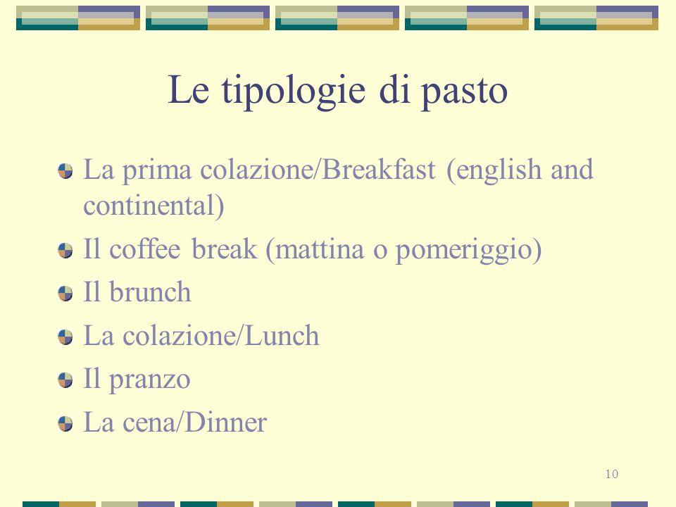 10 Le tipologie di pasto La prima colazione/Breakfast (english and continental) Il coffee break (mattina o pomeriggio) Il brunch La colazione/Lunch Il