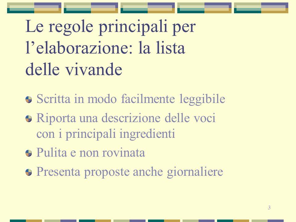 3 Le regole principali per lelaborazione: la lista delle vivande Scritta in modo facilmente leggibile Riporta una descrizione delle voci con i princip