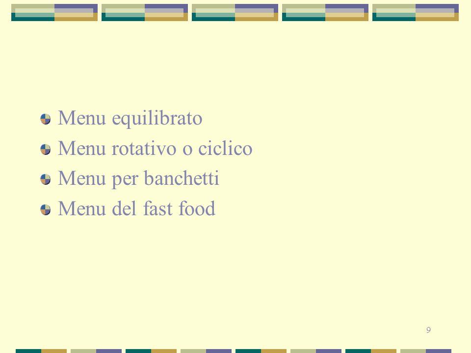 9 Menu equilibrato Menu rotativo o ciclico Menu per banchetti Menu del fast food